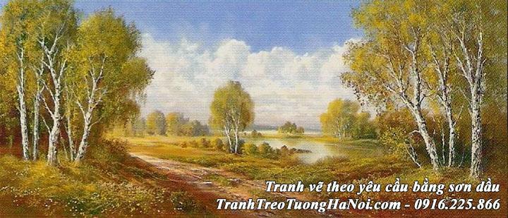 Hình ảnh sơn dầu phong cảnh rừng cây theo yêu cầu