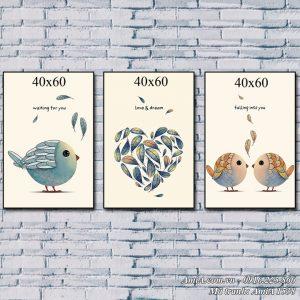 Tranh AmiA 1538 tranh chim đáng yêu treo phòng em bé