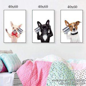 Tranh AmiA 1537 treo phòng trẻ em chú cún thông minh