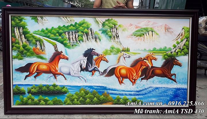 Hình ảnh bức tranh sơn dầu AmiA 430 vẽ ngựa chạy trên sông nước