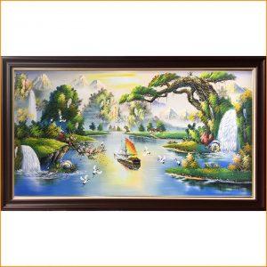 Tranh sơn dầu TSD 384C vẽ cảnh sông núi nước non thuyền buồm