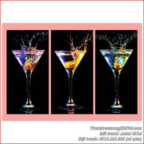 Tranh amiA 635A treo tường quầy bar mini tại nhà với ly rượu vang