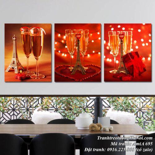 Tranh treo tường lãng mạn rượu vang và tháp ep phen tình yêu AmiA 695