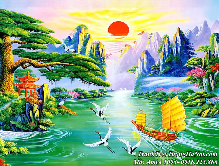 Tranh thuyền ra khơi dưới nắng mặt trời giữa cảnh đẹp hữu tình AmiA 1093