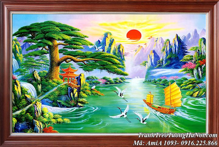 Tranh thuyền ra khơi sơn thủy hữu tình Trung Quốc AmiA 1093