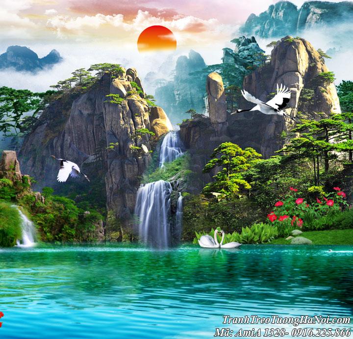 Tranh sơn thủy Amia 1328 có mặt trời mọc trên núi và hồ uyên ương