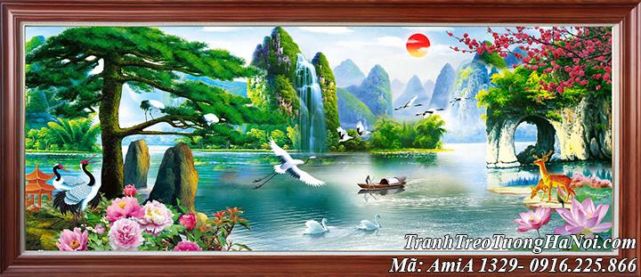 Tranh phong cảnh chèo thuyền giữa núi non đẹp hữu tình AmiA 1329
