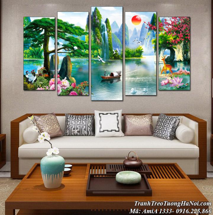 Tranh sơn thủy ghép 5 tấm hình ảnh chèo thuyền