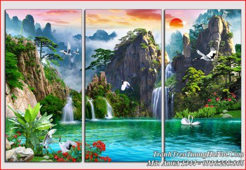 Tranh bộ 3 tấm sơn thủy hữu tình đẹp và ý nghĩa AmiA 1344