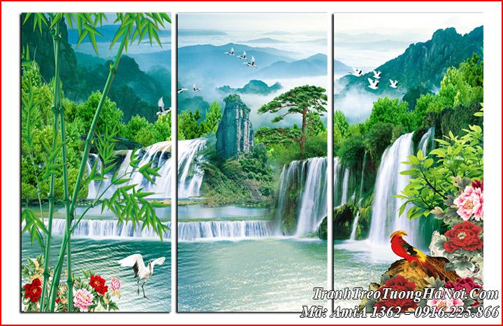 Tranh đẹp AmiA 1362 treo tường sơn thủy trúc báo bình an