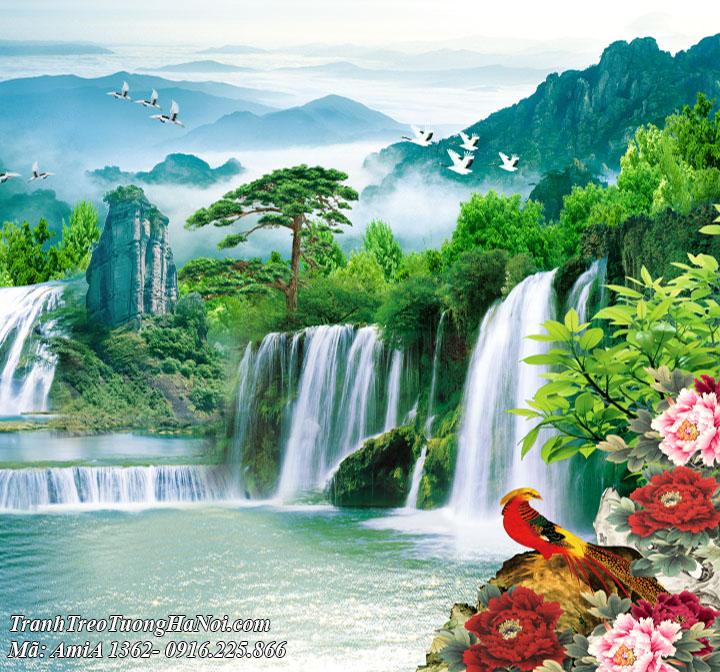 Tranh đẹp phong thủy thác nước hữu tình amiA 1362