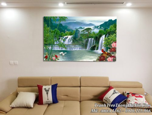 Tranh treo tường thực tế AmiA 1362 thực tế ở nhà khách
