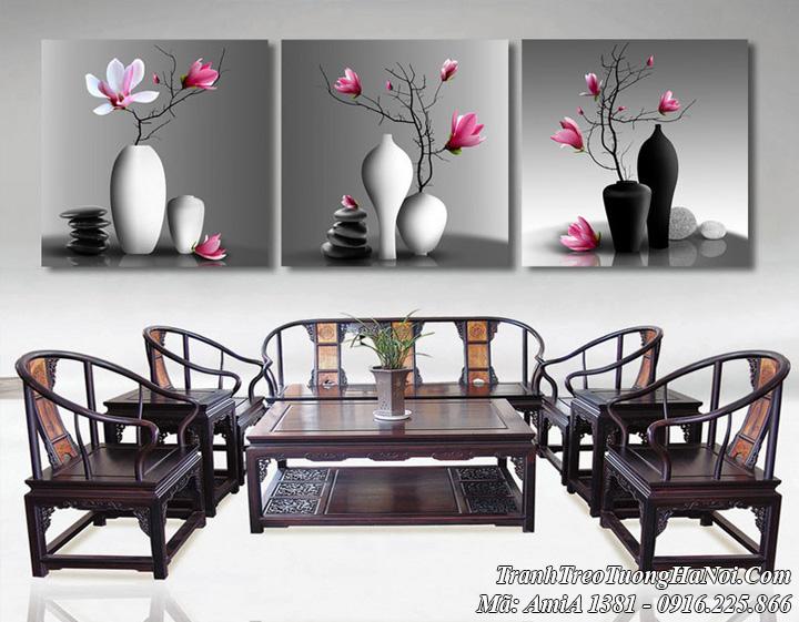 AmiA 1381 tranh bình hoa hiện đại treo tường đẹp sang trọng ý nghĩa