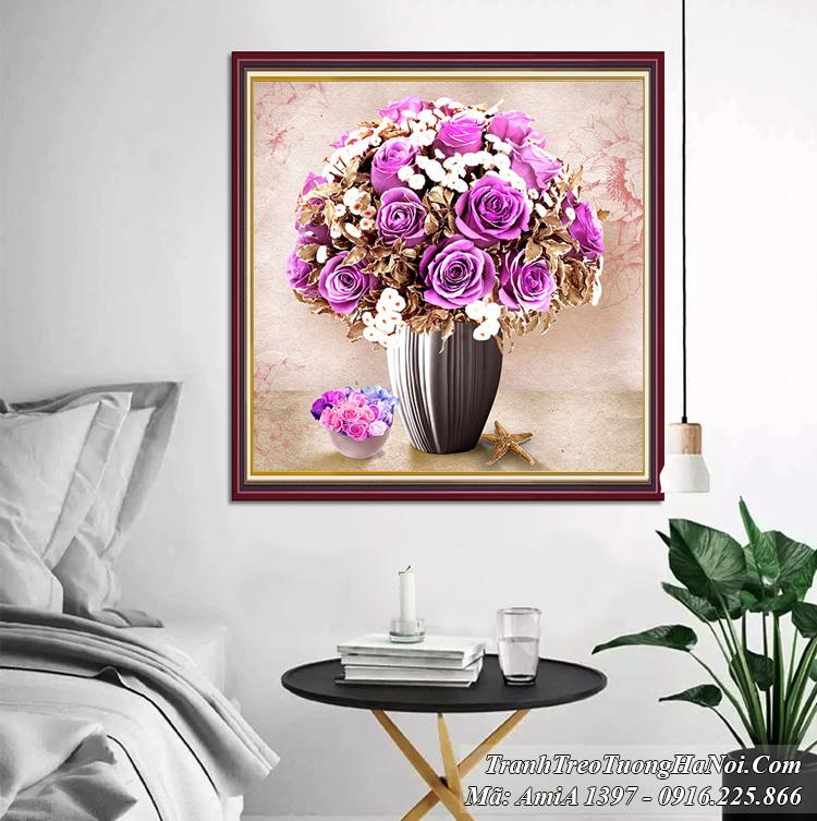 Tranh bình hoa màu tím sang trọng hiện đại một tấm Amia 1397