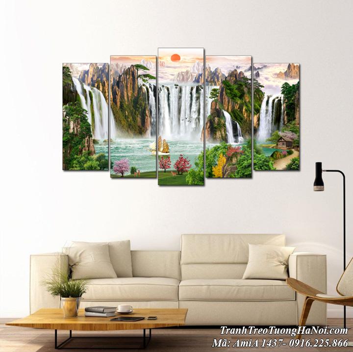 AmiA 1437 tranh ghép 5 tấm thác nước sơn thủy hùng vĩ trong rừng