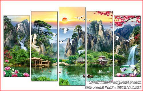 AmiA 1442 tranh sơn thủy hữu tình phogn cảnh đẹp ghép 5 tấm