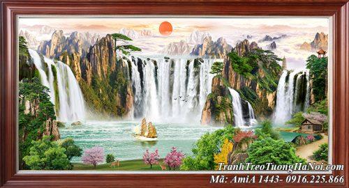 Tranh sơn thủy thác nước khổ lớn hùng vĩ AmiA 1443