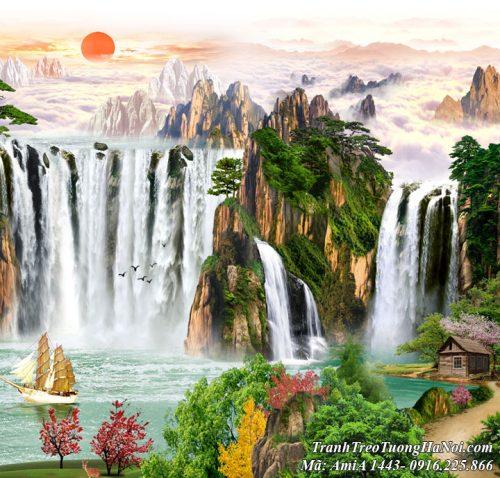 Tranh treo tường amiA 1443 thác nước hùng vĩ