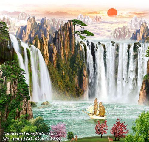 Tranh thác nước sơn thủy hữu tình đẹp AmiA 1443
