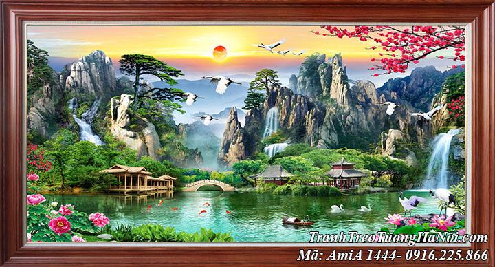 Tranh sơn thủy Trung Quốc vọng lầu khổ lớn AmiA 1444