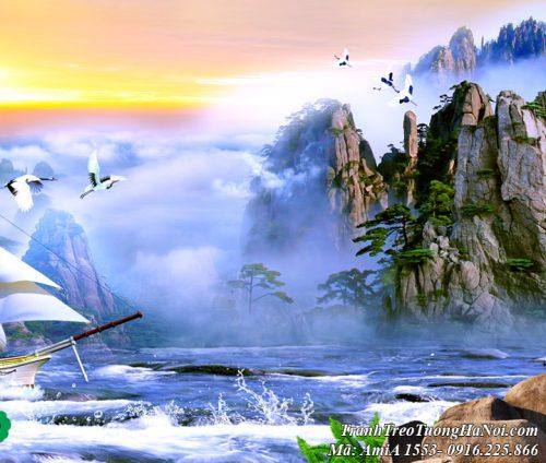 Tranh cảnh núi non trong bức tranh sơn thủy trung quốc AmiA 1553