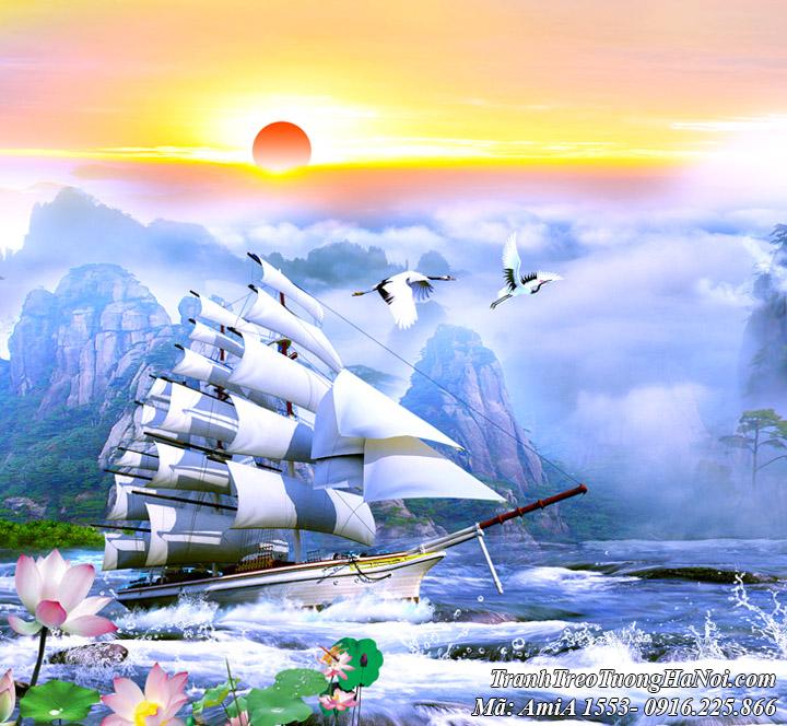 Hình ảnh thuyền buồm xuôi gió trong bức tranh sơn thủy AmiA 1553