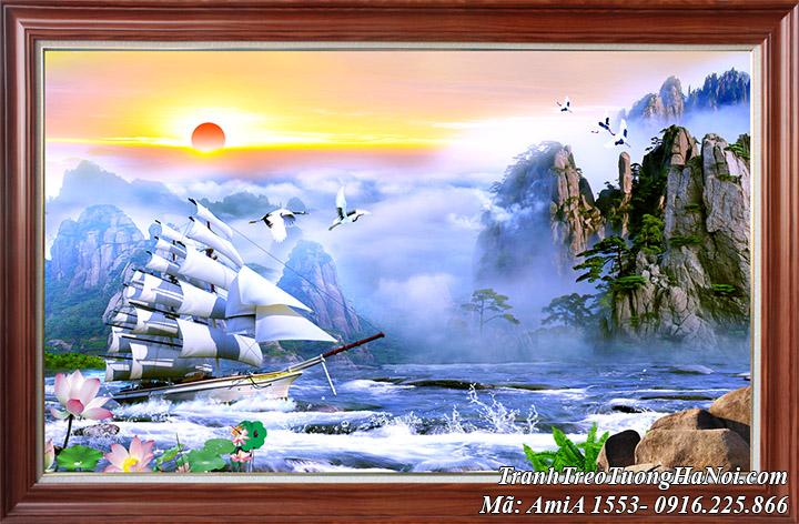 Tranh sơn thủy trung quốc khổ lớn một tấm Amia 1553 làm theo yêu cầu