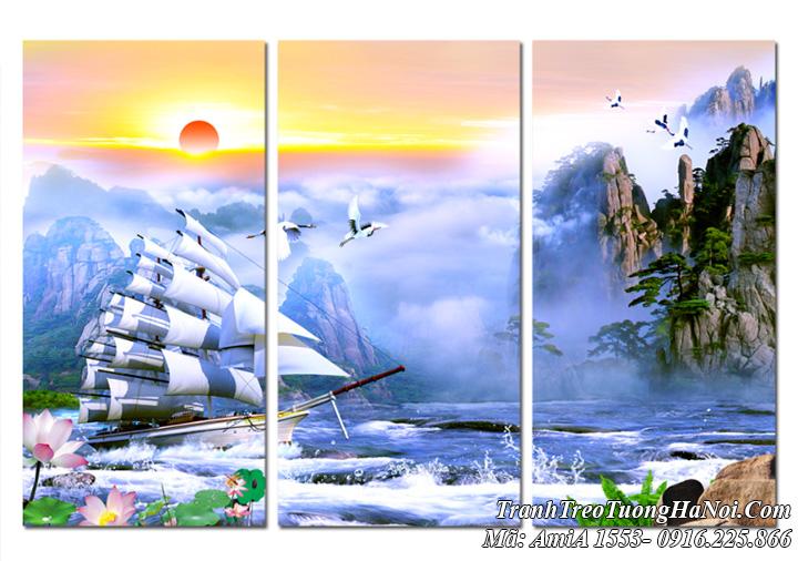 Tranh thuyền buồm sơn thủy ghép 3 tấm hiện đại amia 1553