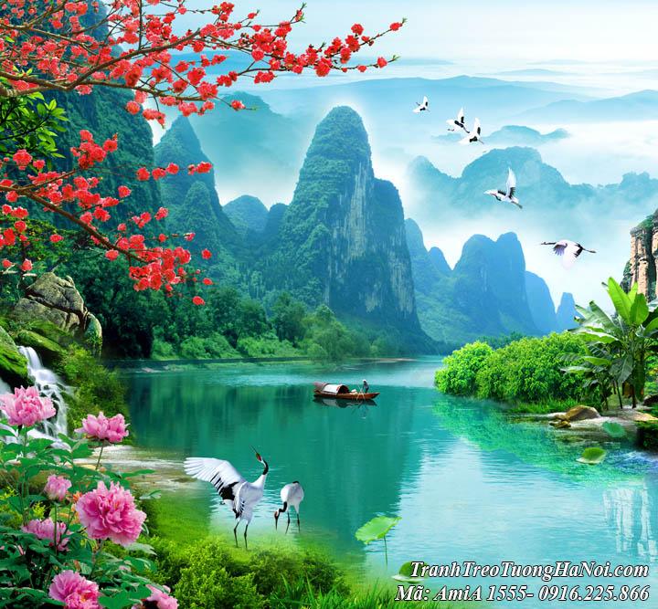 Tranh phong cảnh sơn thủy hữu tình Việt Nam AmiA 1555