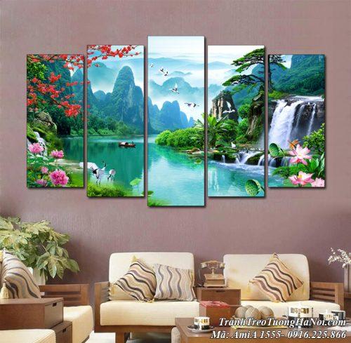Tranh ghép 5 tấm Amia 1555 sơn thủy hữu tình Việt Nam