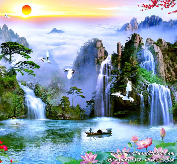 Tranh sông hồ mây trời thác nước AmiA 1556