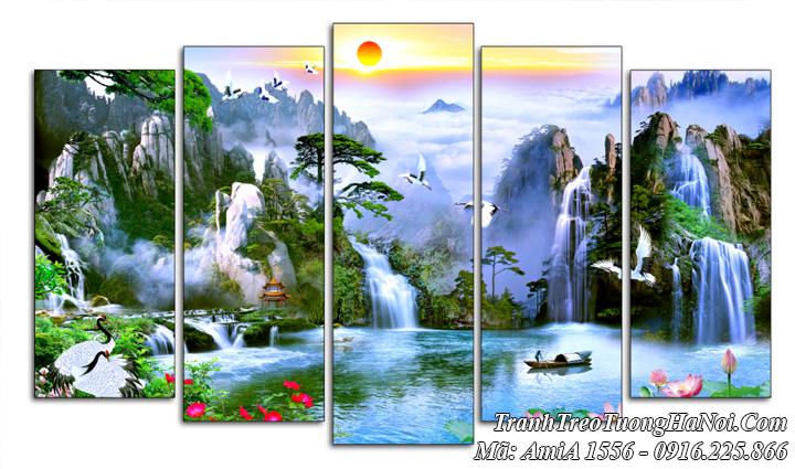 Tranh 5 tấm treo tường sơn thủy hữu tình AmiA 1556