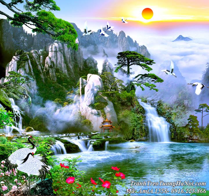 Tranh sơn thủy đẹp mây trời sông nước Amia 1556