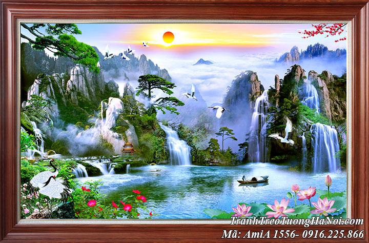 Tranh sơn thủy đẹp amiA 1556 một tấm khổ lớn làm theo yêu cầu