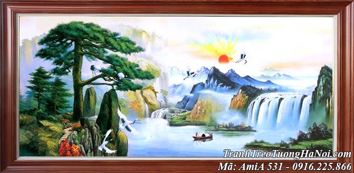 Tranh sơn thủy hữu tình Trung Quốc giả sơn dầu AmiA 531