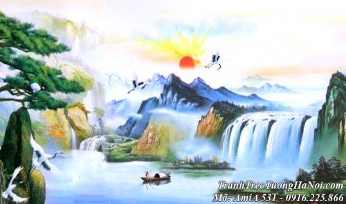 Tranh sơn thủy AmiA 531 giả sơn dầu Trung Quốc