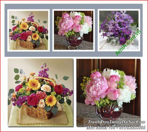 Tranh bình hoa Amia 730 treo tường hiện đai 3 tấm