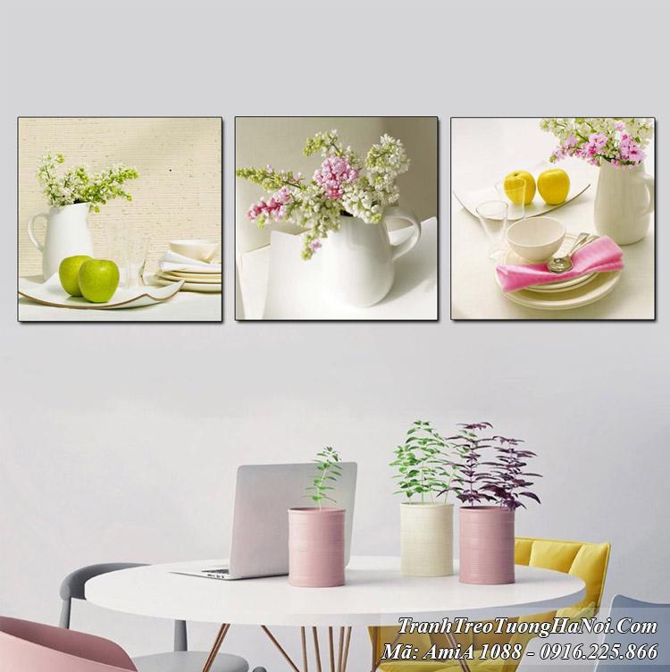 Tranh bình hoa quả treo tường 3 tấm Amia 1088