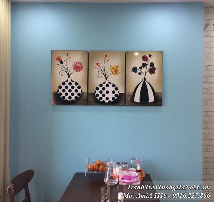 Tranh bình hoa đen trắng Amia 1116 treo tường 3 tấm