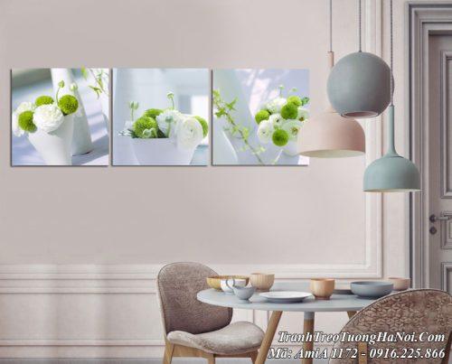 Tranh bình hoa đẹp hiện đại AmiA 1172 treo tường phòng khách phòng ăn
