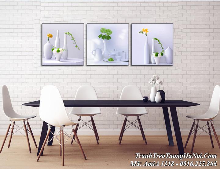 Tranh bình hoa hiện đại treo tường phòng ăn AmiA 1318