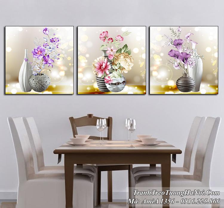 Tranh bình hoa 3 tấm hiện đại treo tường nghệ thuật Amia 1356