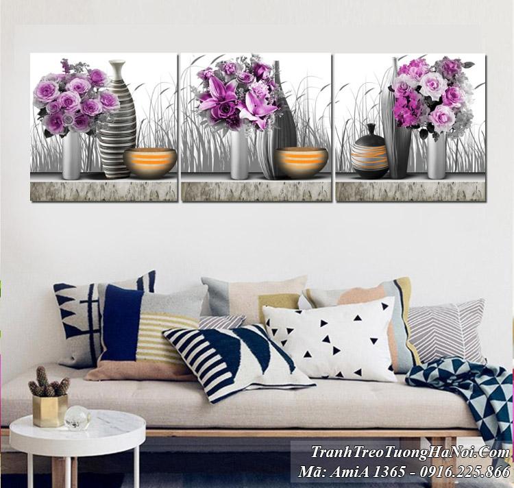 Tranh bình hoa màu tím hiện đại treo tường 3 tấm AmiA 1365