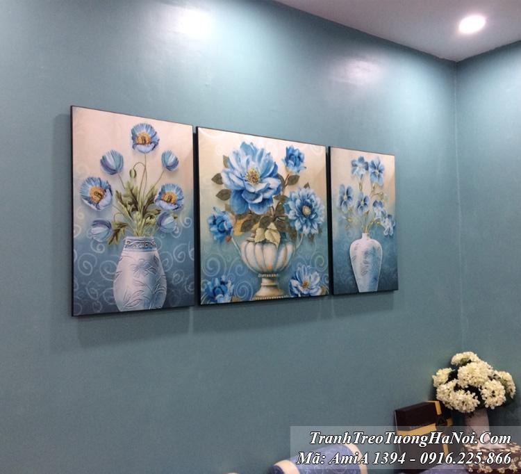 Tranh bình hoa màu xanh quý tộc hiện đại treo tường thực tế nhà khách Amia 1394