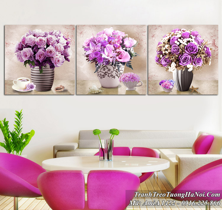 Tranh bình hoa hiện đại treo tường Amia 1422 màu tím quý tộc 3 tấm
