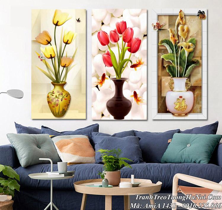 Tranh bình hoa hiện đại treo tường amia 1431 bình hoa 3D phong thủy