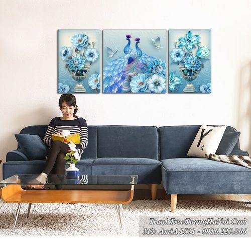 Tranh vợ chồng chim công và hai chiếc bình hoa màu xanh quý tộc AmiA 1531