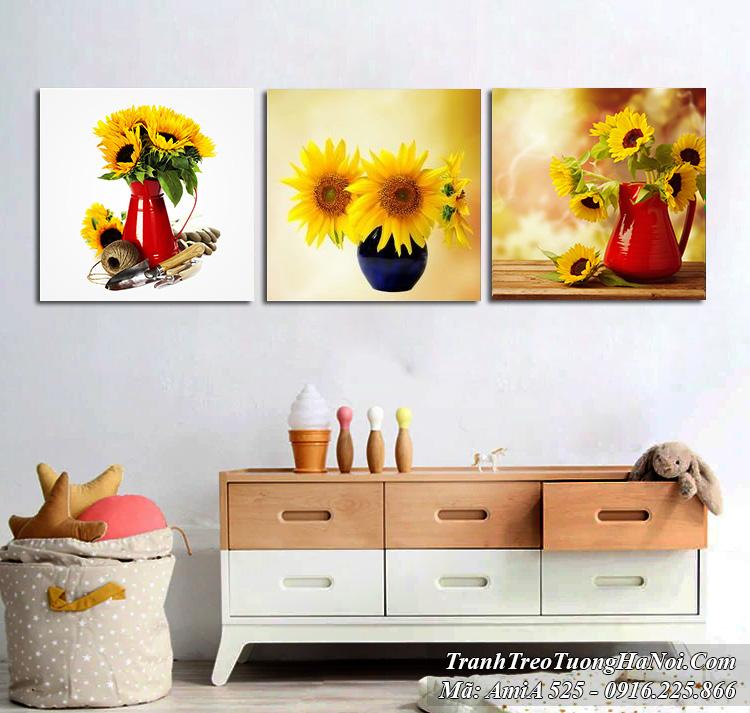Tranh bình hoa hướng dương bộ 3 tấm đẹp rạng ngời Amia 525