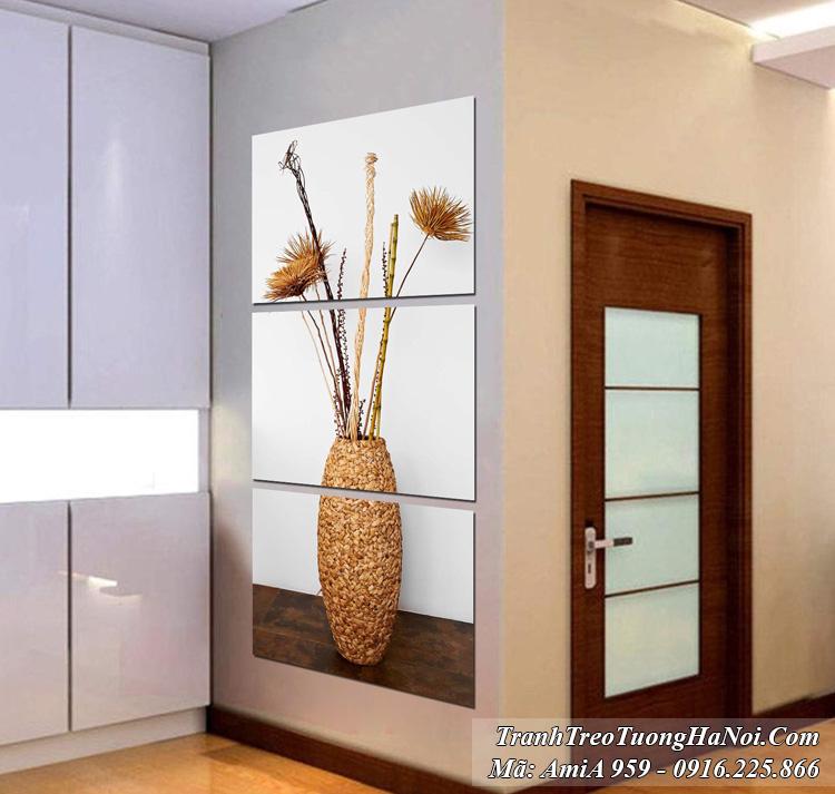 Tranh bình hoa cỏ dại hiện đại 3 tấm ốp tường kiểu đứng AmiA 959