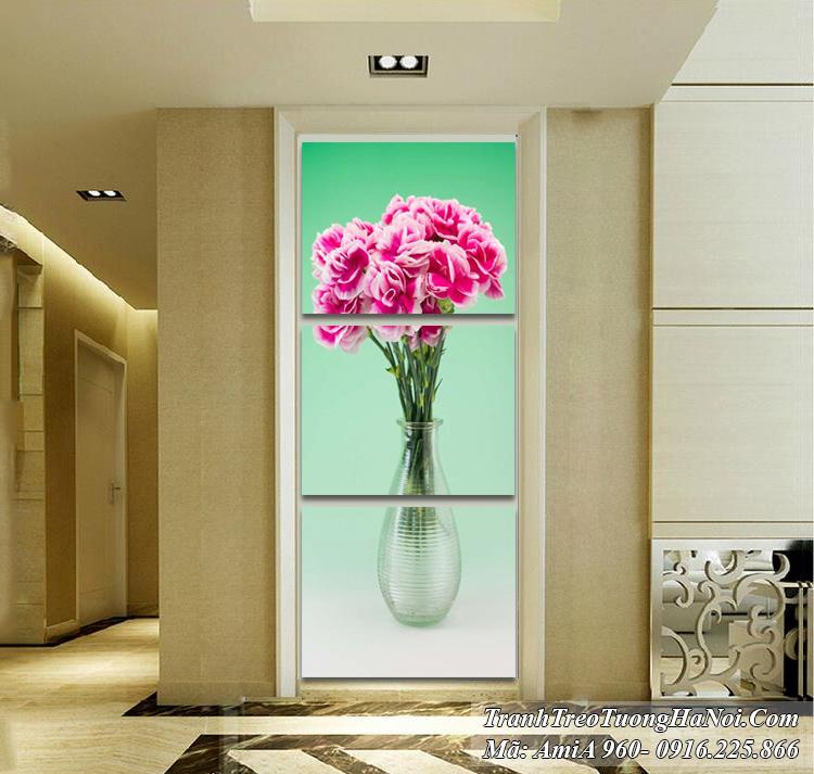 Tranh bình hoa hiện đại treo tường kiểu đứng bình hoa cẩm chướng AmiA 960